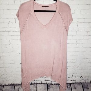 Women's POL Tunic Top Short Sleeve Large Pink
